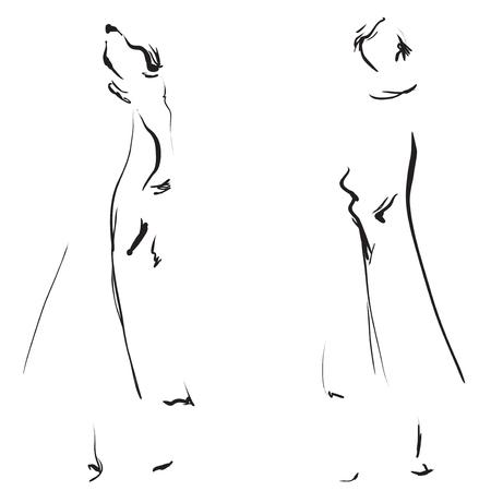 Fashion girls sketch. Иллюстрация