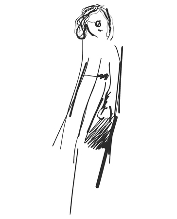 Beautiful young girl model for design. Fashion style. Graphic sketch drawing.