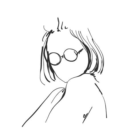 아름 다운 여자 얼굴, 손으로 그린 된 벡터 일러스트의 스케치 스톡 콘텐츠 - 83574741