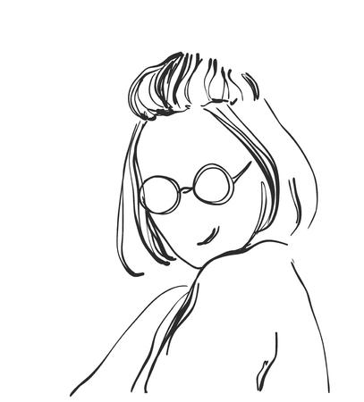 아름 다운 여자 얼굴, 손으로 그린 된 벡터 일러스트의 스케치