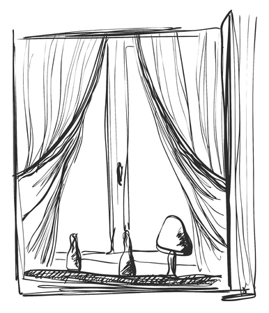 hole: Window and curtains sketch. Interior