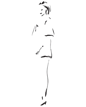 Fashion model sketch. Cartoon girls silhouette Stock Photo
