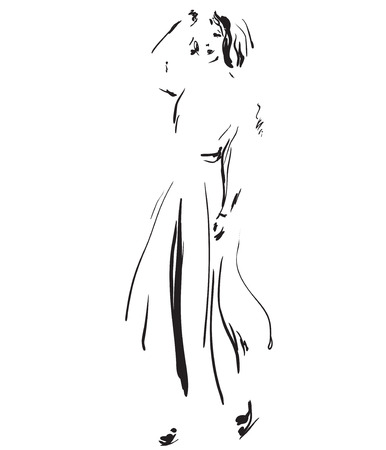 Fashion model sketch. Girls silhouette in the dress