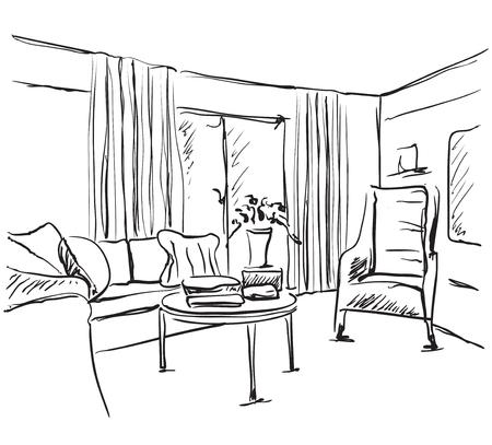 Croquis intérieur moderne. Main dessiner un canapé et d'autres meubles. Vecteurs