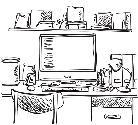 drawing room: Hand drawn workplace. Chair and computer sketch. OFFice interior
