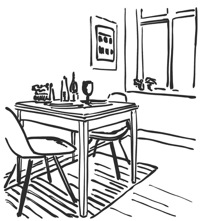drawing room: Sketch of modern interior table and chairs. Furniture