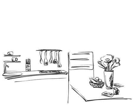 sink: Kitchen interior drawing. Furniture sketch Illustration