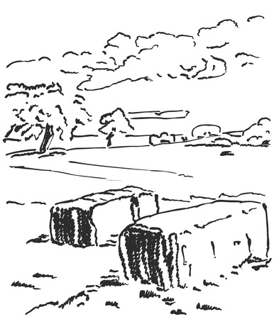 Rural landscape with hay bales. Wheat field and farm.