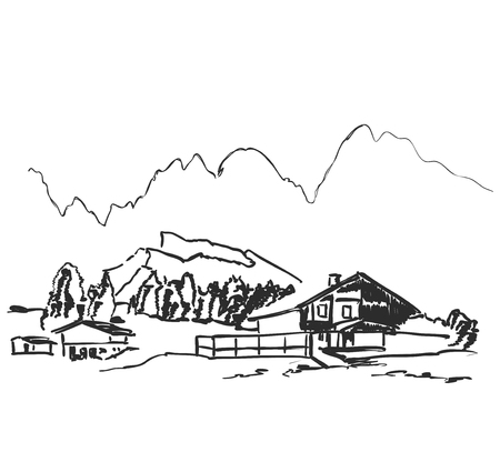 Vector image. Landscape with fields and house among the hills 向量圖像