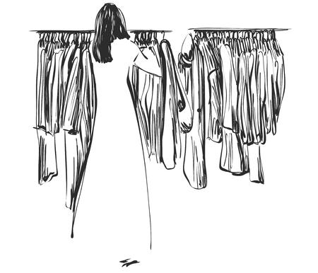 Croquis dibujado a mano armario. La ropa en las perchas. Foto de archivo - 87577528