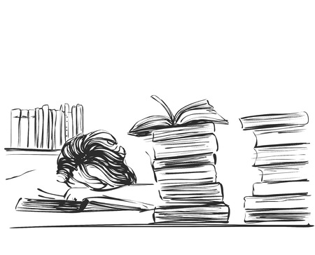 tired: Young woman sleeping among books at the table. Sketch illustration