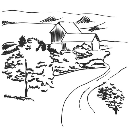 Vector image. Landscape with fields and house among the hills Reklamní fotografie