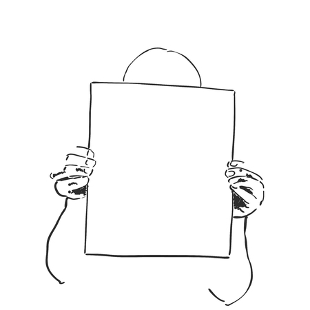 Girl with frame in the hand. Sketching illustration Stock Photo