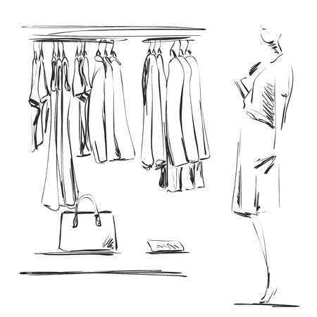 Esboço de guarda-roupa desenhado de mão. Roupas nos cabides. Manequim na loja Foto de archivo - 87612065