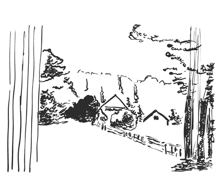 Landscape with a house skecth.
