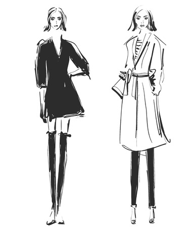 Fashion models. Sketch. Clothes winter and autumn. Coat Stock Photo