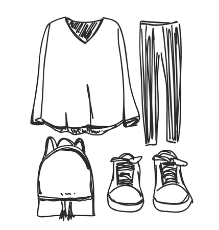 A set of fashionable women s clothing. Shoes, pants and sweater. Vector illustration. Fashion sketch. Selection of clothes for autumn-spring.