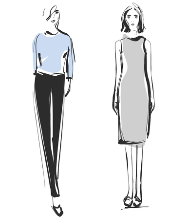 Fashion models. Sketch. Dress Illustration