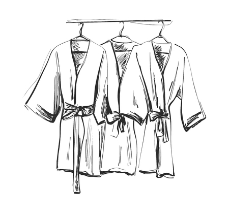 Robe for the shower, bathrobe, doodle style, sketch illustration. 向量圖像