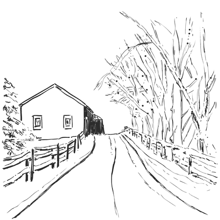 Graphic sketch of winter forest landscape with house and trees.