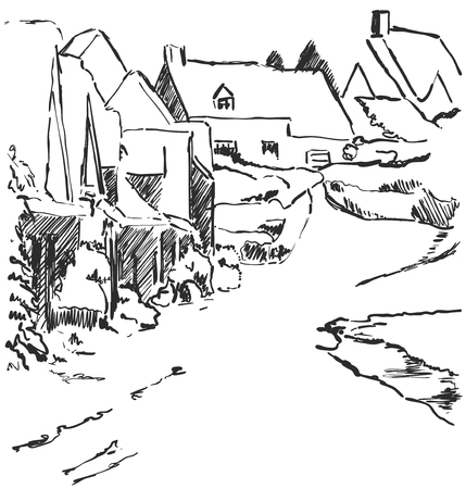 Winter landscape sketch. Village with house and trees. Road