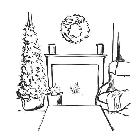 Schets vector illustratie interieur met kerstboom en open haard. Ons voor briefkaart, kaart, uitnodigingen. Stockfoto - 92248304