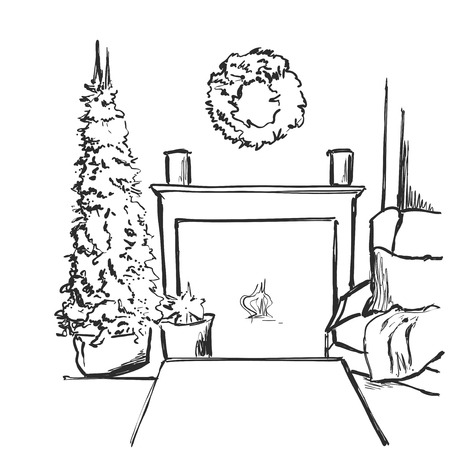 Sketch vector illustration interior with christmas tree and fireplace. Us for postcard, card, invitations.