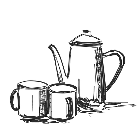 Vector cup of coffee and Kettle, background, sketch