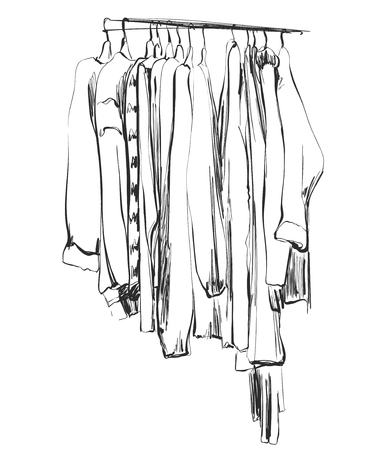 Hand drawn wardrobe sketch. Clothes on the hanger