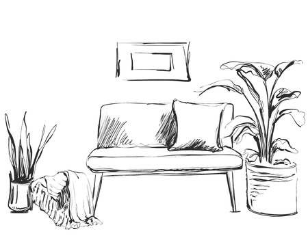 Modern interior room sketch. Hand drawn sofa.