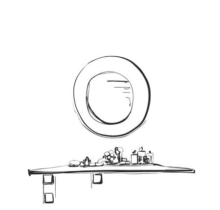 Hand getrokken tafel, stoel en spiegel schets