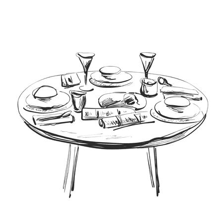 Table setting set. Weekend breakfast or dinner. Stock Photo