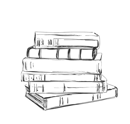 Hand drawing a pile of books. Sketching Stock Photo