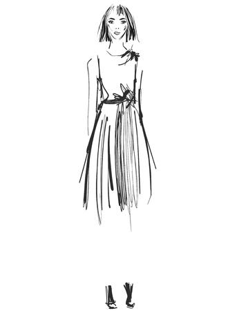 Beautiful young girl sketch drawing vector illustration Ilustração