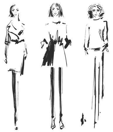 Beautiful young Fashion model sketch drawing vector illustration