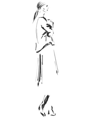 Beautiful young Fashion model sketch drawing Vector illustration Ilustração