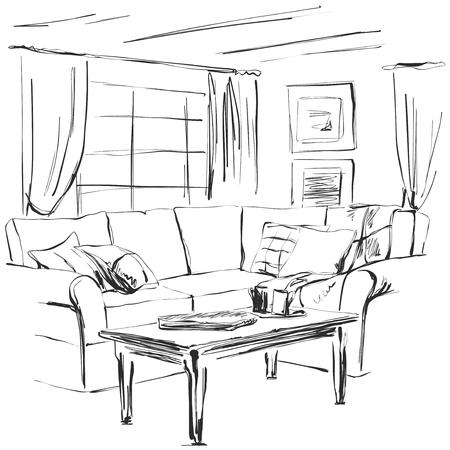 Hand drawn room interior sketch vector illustration Stock fotó - 92666986