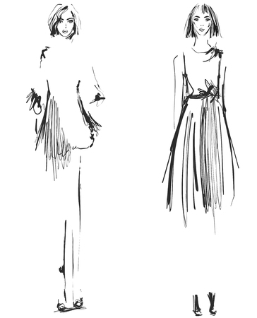 Beautiful young girll for design. Fashion model, style, sketch drawing. Sexy woman. Dress.