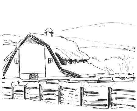 Country house. Rural landscape. Sketch drawing.