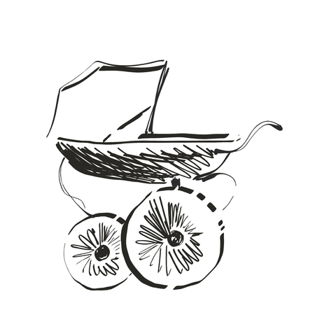 Baby carriage sketch. Hand drawn vector illustration