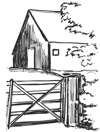 Country house. Rural landscape. Vectorization pencil drawing. Illustration