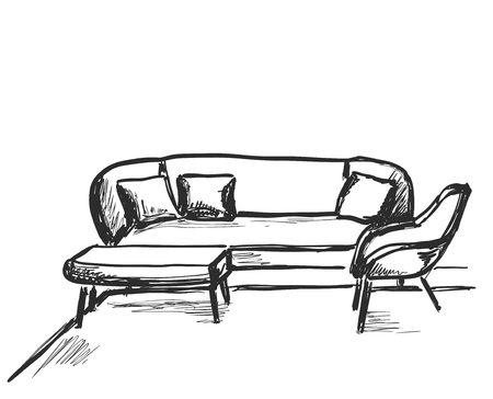 Sofa and table on white background. Vector illustration in a sketch style.