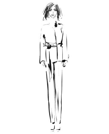 패션 모델. 스케치. 벡터 일러스트 레이 션. 바지를 입은 소녀