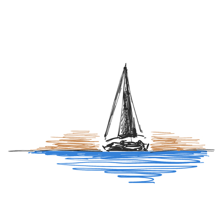 Vector illustration Hand drawn sketch with yacht and lighthouse. Line design Иллюстрация
