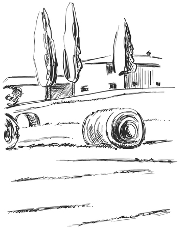 Hand made vector sketching landscape. Fields, harvest, agricultural