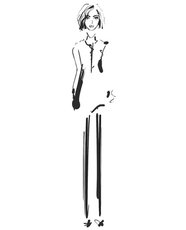 Beautiful young girl for design. Fashion model sketch drawing.