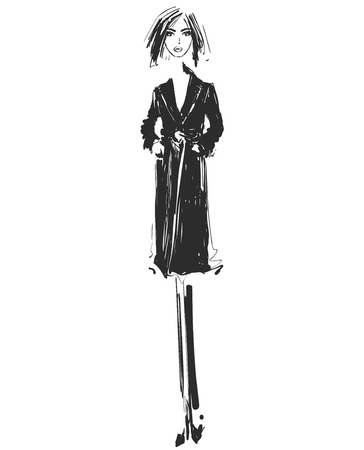 Vector graphic with fashion model for design. Coat sketch.