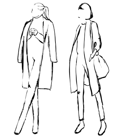 Vector graphic with fashion models for design. Girls in the coat. Sketch.