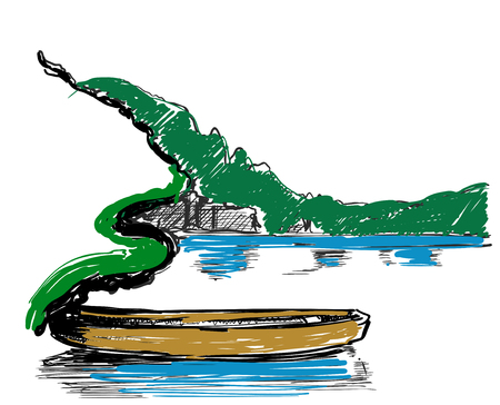 Doodle style boat. Landscape with lake and forest