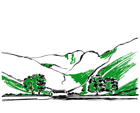 A path in the mountains sketch. Background with tree and hill